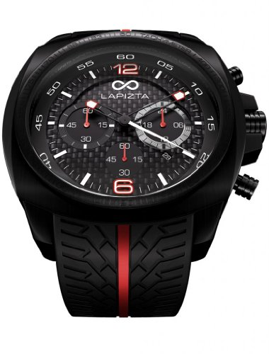 (LAPIZTA Addax Men's 48mm Chronograph Racing Watch - Carbon Fiber Dial w/Red Accents L20.1001)