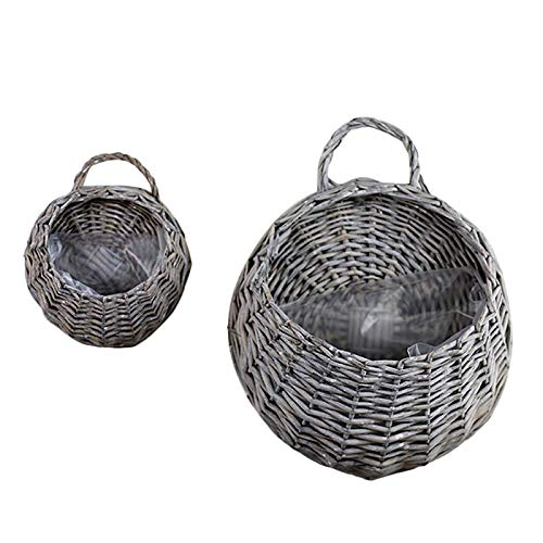 SeedWorld Wind Chimes & Hanging Decorations - Multi Colors Hand Made Wicker Rattan Flower Basket Nest Flower Pot Planter Hanging Vase Container Home Hanging Decoration 1 PCs ()