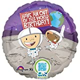 """18"""" Happy Birthday Outer Space Astronaut Foil Balloon"""