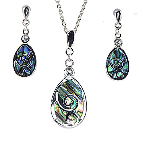 Celtic Tear Drop with Abalone Shell Necklace Earrings - Jewelry Set Celtic