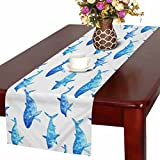 InterestPrint Watercolor Underwater Animal Art Whale Dolphin and Shark Table Runner Linen & Cotton Cloth Placemat Home Decor for Wedding Banquet Decoration 16 x 72 Inches