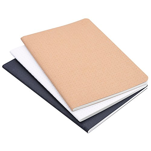 (Set of 3) A5 Dotted Notebook/Travel Journal - 5.5 x 8.25 Dot Grid Paper for Bullet Journaling, Total 120 Sheets/240 Pages, Black/White/Kraft Brown Cover