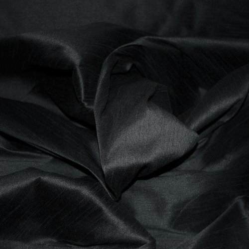 FAUX SILK DUPIONI FABRIC POLY DUPION BLACK (BY THE YARD) (Silk Fabric Dupion)