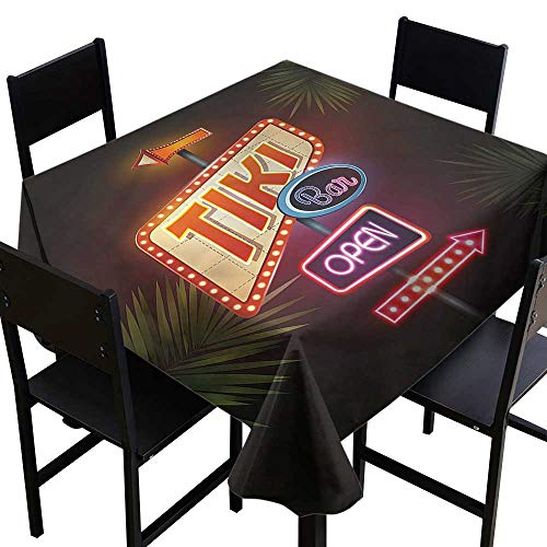 Anshesix Polyester Tablecloth Tiki Bar Neon Sign Design Easy to Clean W50 xL50 for Kitchen Dinning Tabletop Decoration ()