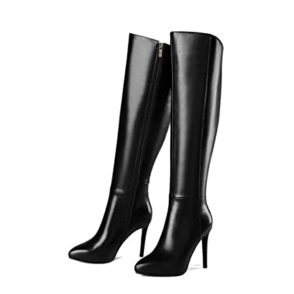 bc9f80903c5cb Amazon.com: Women's High Boots The Knee Thick Heel Leather Pointed ...