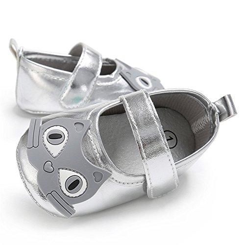 Estamico,zapatos de ballet de cuero suave de dibujos animados de las niñas de niño plateado