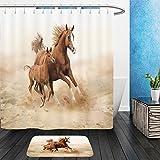 Vanfan Bathroom 2Suits 1 Shower Curtains & 1 Floor Mats purebred white arabian horse in desert 156372215 From Bath room