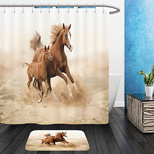 Vanfan Bathroom 2 Suits 1 Shower Curtains & 1 Floor Mats purebred white arabian horse in desert 156372215 From Bath - Phoenix Westgate