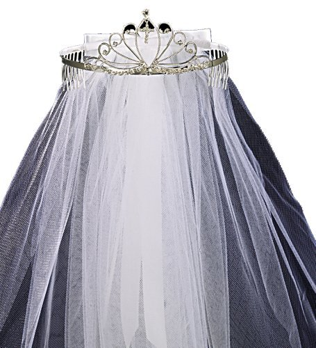 Lito First Communion Tiara with Veil and Bow, White, One Size