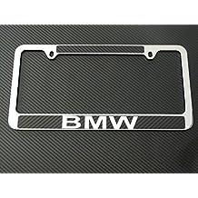 Bmw license plate frame chrome metal, carbon fiber details, chrome text