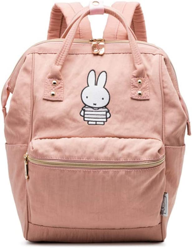HWX Womens Backpack School Travel Bag Double Shoulder Bag Zipper Daypack Waterproof Rucksack Retro Lightweight Canvas Cross Body Everyday Satchel Bag Color : Pink, Size : 25cm35cm14cm