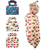 Newborn baby Swaddle Headband Set Receiving Blankets , Unisex Infant Toddler Sleep Sack with Hat ( pack with 3 sets )