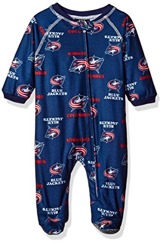 NHL Columbus Blue Jackets Newborn Boys Sleepwear All Over Print Zip Up Coveralls, 0-3 Months, True Navy Jacket Sleepwear