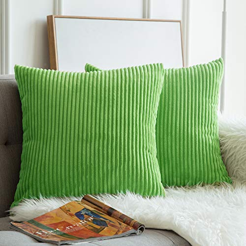 (MIULEE Pack of 2, Corduroy Soft Soild Decorative Square Throw Pillow Covers Set Cushion Cases Pillowcases for Sofa Bedroom Car 18 x 18 Inch 45 x 45 cm)