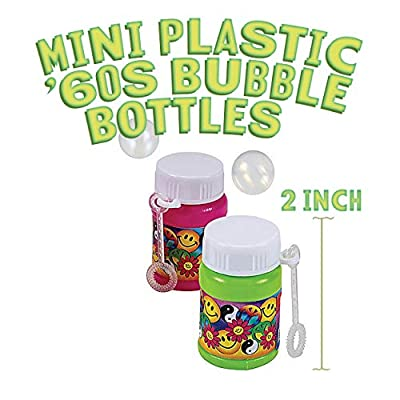 Kicko Mini Plastic '60s Bubble Bottles 2 Inches - 12 Pack - Assorted Colors Bottles 1 Oz. with Foldable Wands - Smile and Peace Symbols - for Kids Party Favors, Fun, Toy, Prize: Toys & Games