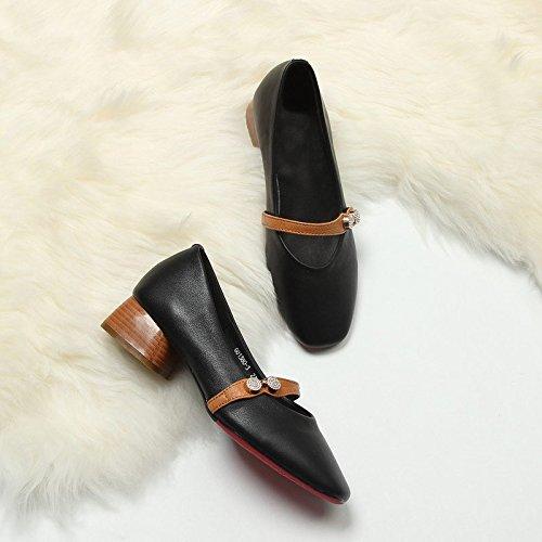Jqdyl heels Heel High Women'S Black Shoes Coarse Fashion ppqrSUfz