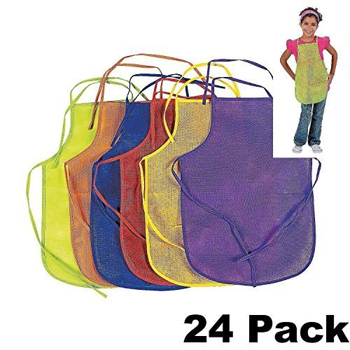 12 Pack Assorted Children's Artists Aprons Kitchen Classroom (2 PACK) by Fun Express (Image #1)