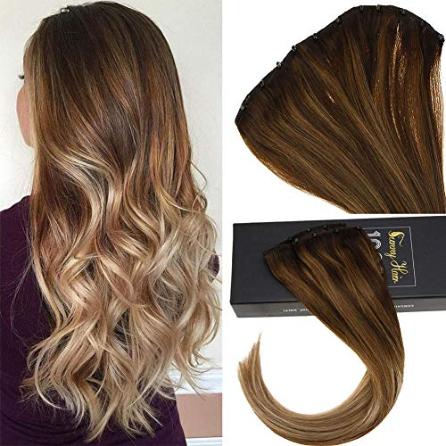 Sunny 16inch Microbead Hair Extensions Human Hair Brown Balayage Medium Brown Highlight Caramel Blonde EZ Weft Hair Micro Beads Hair 12inches Width 50g Weight