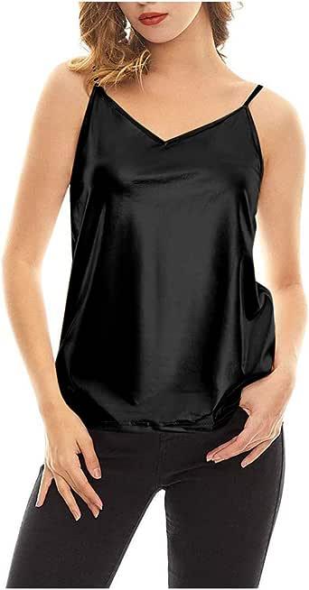 OPAKY Chaleco Metálico Brillante Mujer Top Camiseta Sin Mangas Fiesta Club Ropa de Baile Tops de Tirantes Sólidos Básicos Camisola Metálica Brillante para Mujer Chaleco Líquido Blusa sin Mangas: Amazon.es: Ropa y
