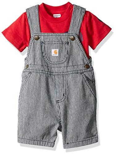 Carhartt Baby Boys 2-Piece Shortall Clothing Set Dark Indigo Ticking Stripe/Red Tractor -
