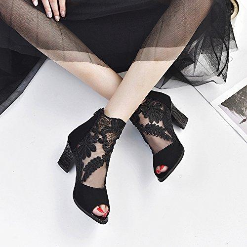 Talons chaussures Avec Bout Noir Bas Femme Escarpin Lacets Ouvert Fermeture À Glissière Pour chaussures Et Femmes wC15OYxn