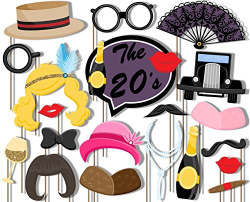 Roaring 20's Photo Booth Props Kit - 20 Pack Party Camera Props Fully ()