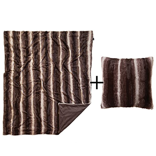 Faux Fur Throw Pillow & Blanket, Brown & White Striped Plush Chinchilla