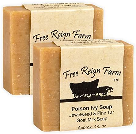 Free Reign Farm Poison Ivy Relief Jewelweed & Pine Tar 5 Ounce Goat Milk Soap 2 Pack