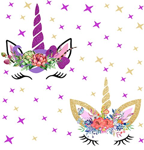 Happy Unicorn Decal, Unicorn Wall Decal Fairytale Wall Decal Girls Bedroom Home Decor 2pcs With Stars by Easma