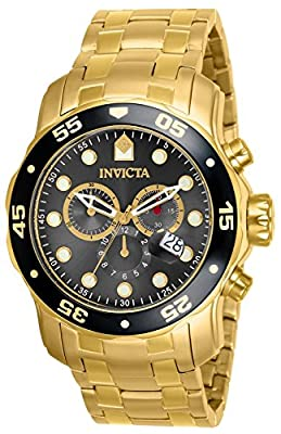 Invicta Men's 80064 Pro Diver Chronograph Charcoal Dial 18k Gold Ion-Plated Stainless Steel Watch from Invicta