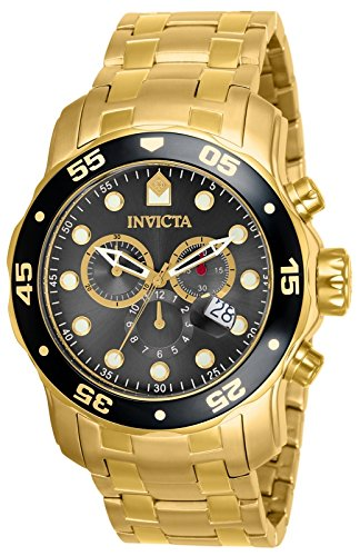 Invicta Men's 80064 Pro Diver Chronograph Charcoal Dial 18k Gold Ion-Plated Stainless Steel Watch by Invicta