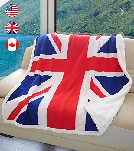 Terrania UK Flag Sherpa Throw Blanket, Super Cozy Fleece Plush Bed Throw TV Blankets Reversible for Bed or Couch 50