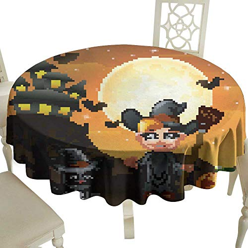 WinfreyDecor Fabric Dust-Proof Table Cover Halloween Background with boy Witch Pumpkin Kitten Witch for Kitchen Dinning Tabletop Decoration D71]()