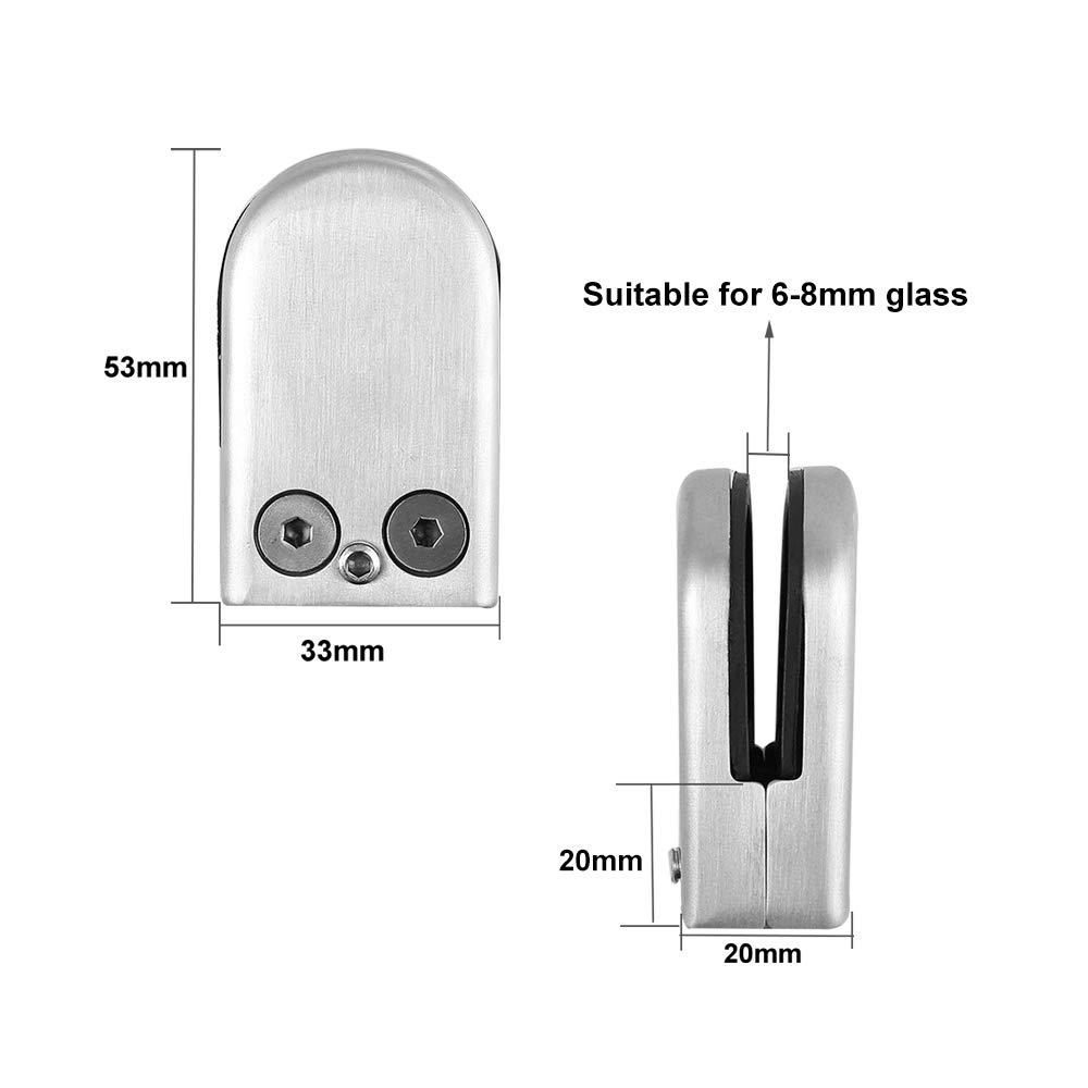 para Escalera Barandilla 6~8mm S Tama/ño 304 Acero Inoxidable Abrazadera de Cristal QitinDasen 10Pcs Profesional Abrazaderas de Vidrio Soporte de Vidrio Ajustable Parte Trasera Plana