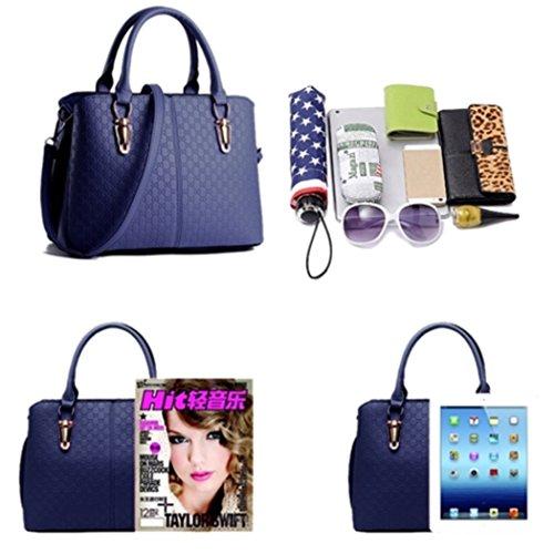 Lederhandtasche für Frauen Crossbody Weiche Schulter Hobo Top Griff Tasche - Weiß Königsblau VtIDE9IPBK