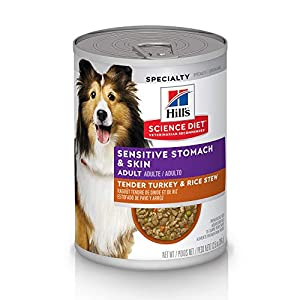 Hill's Science Diet Canned Dog Food, Adult, Sensitive Stomach & Skin, Tender Turkey & Rice Stew, 12.5 oz, 12 pk 43