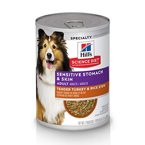 Hill's Science Diet Canned Dog Food, Adult, Sensitive Stomach & Skin, Tender Turkey & Rice Stew, 12.5 oz, 12 pk
