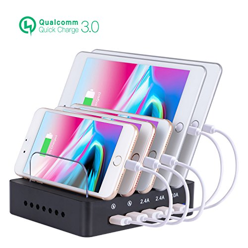 Fastest Charging Station for Multiple Devices, Othoking USB 5-Port Charging Station Dock & Charging Stand Organizer with QC 3.0 for Smartphones, Tablets & Other Gadgets by OthoKing
