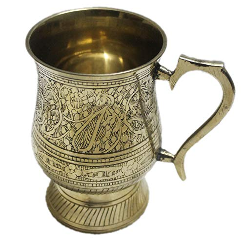 PARIJAT HANDICRAFT Unique Tankard Look - Handmade 100% Pure Brass Beer Stein - No Lining - 18 oz – Ice Cold Beer, Moscow Mules Mugs,Golden-Heart-Shape-Handle ()