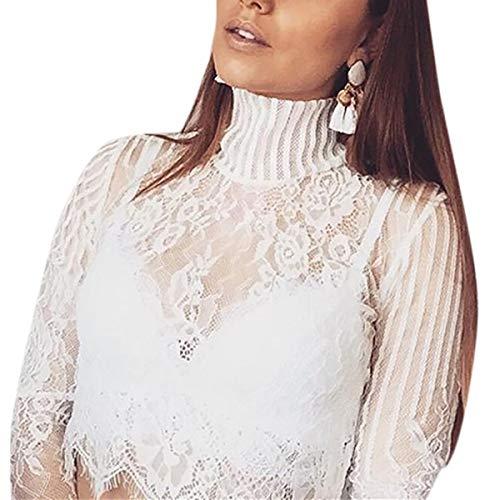 Floral La Escarpadas Larga Patchwork Camiseta cuello White Vea O Top Mujeres De Crop Navel Las Manga Encaje vqgdZv