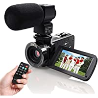 Video Camcorder,Eamplest Full HD 1080P 24MP IR Infrared Night Vision Camera Camcorder with 16X Digital Zoom, 3 Inch LCD 270 Degree Touch Screen Video Recorder With External Microphone (HDV-301M)