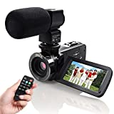 Camera Camcorder, Eamplest Remote Control Infrared Night Vision Handy Camera Camcorder with Full HD 1080P 24MP 16X Digital Zoom 3'' LCD 270 Degree Touchscreen Video Camera With External Microphone(301)