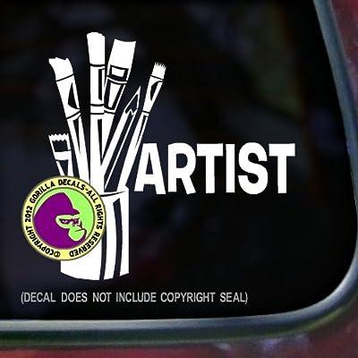ARTIST Art Brush Paint Occupation Job Vinyl Decal Sticker Car Window Door Wall Sign WHITE