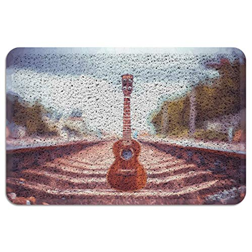EZON-CH Outdoor Doormat for Entrance Way Front Welcome Mat,Oil Painting Style Guitar Standing on Railway Sleepers Doormats for Bedroom Living Room Kitchen Indoor Washable Shoes Scaper,24 x 35 Inch