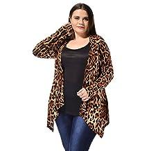 Agnes Orinda Ladies Plus Size Leopard Prints Open Front Fashion Cardigan