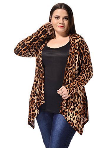 - uxcell Women's Plus Size Leopard Print Asymmetric Open Front Fashion Cardigan Beige 2X