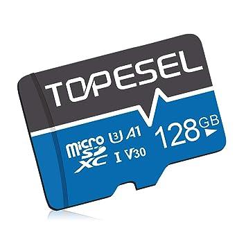 Tarjeta Micro SD 128GB, TOPESEL Tarjeta Memoria Alta Velocidad 85 MB/s SDXC Mini Tarjeta TF para Móvil, Tablet, Cámara, Tarjeta microSD 128GB (A1, U3 ...