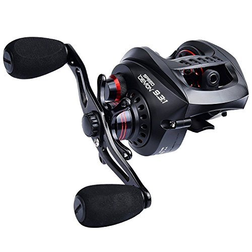KastKing Speed Demon 9.3:1 Baitcasting Fishing Reel – World's Fastest Baitcaster – 12+1 Shielded Ball Bearings – Carbon Fiber Drag – Affordable - New for 2017! (Right Handed)