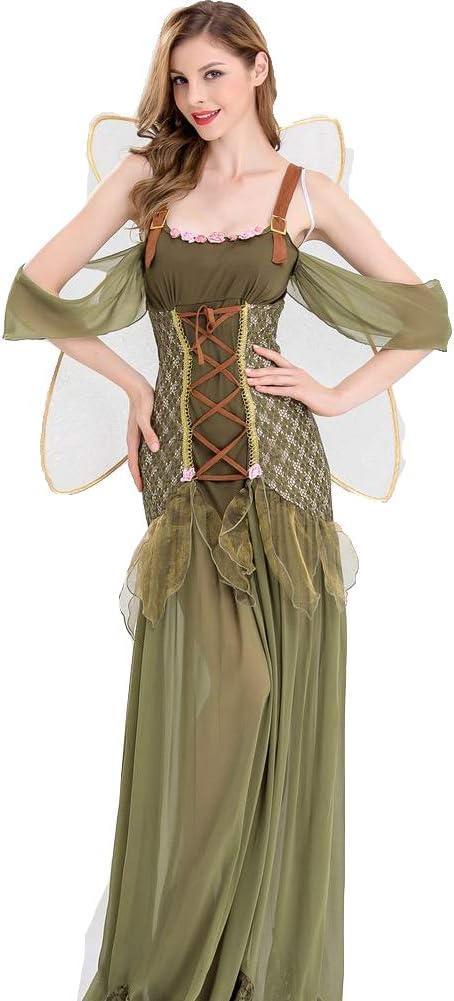 sgtdraw Disfraz de Halloween Elfo Verde Bosque Princesa ángel DS ...