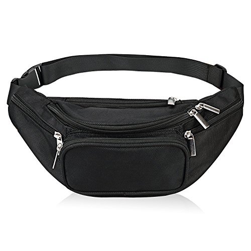 - Fanny Pack 5-Zipper Pockets Waist Bag Belt Nylon Multifunctional for Women Men Water Proof Waist Bag Pack for Hiking Running Cycling Camping Climbing Travel (Black)